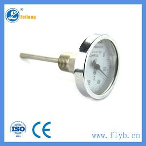 Back connection stainless steel bimetallic stemmed thermometer