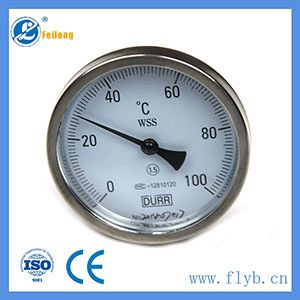 Axial bimetal thermometer