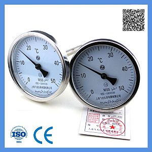 Industrial Usage Stainless Steel Dial 100mm Probe Axial Bimetal Thermometer 0-50c