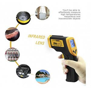 Digital LCD Non-Contact Gun Shaped Industrial Pyrometer Infrared Laser IR Infrared Thermometer